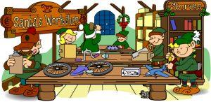 Cartoon of Santa's Workshop